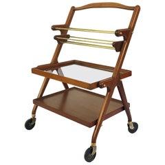 Rare Midcentury Serving Cart in Mahogany Wood