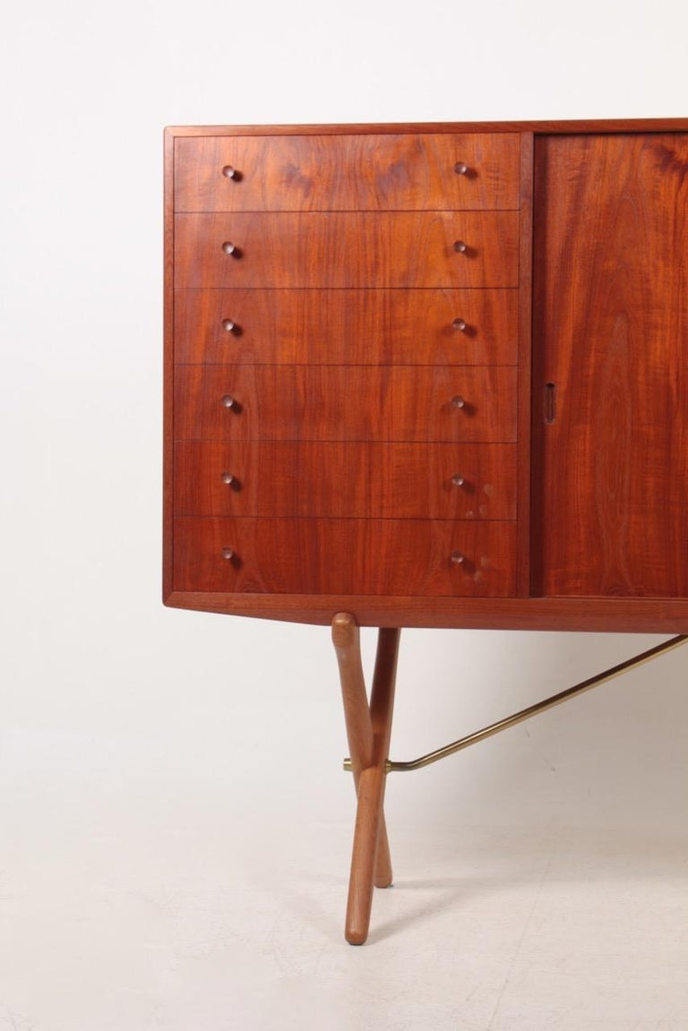 Scandinavian Modern Rare Midcentury Sideboard in Teak Model CH-304 by Hans Wegner, 1950s For Sale