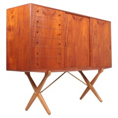 Rare Midcentury Sideboard in Teak Model CH-304 by Hans Wegner, 1950s