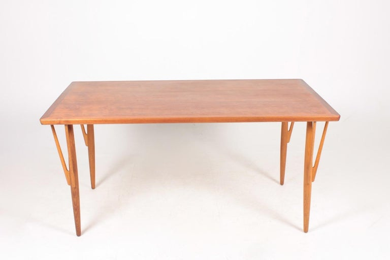 Scandinavian Modern Rare Midcentury Work Table in Teak and Oak by Hans Wegner, 1950s For Sale