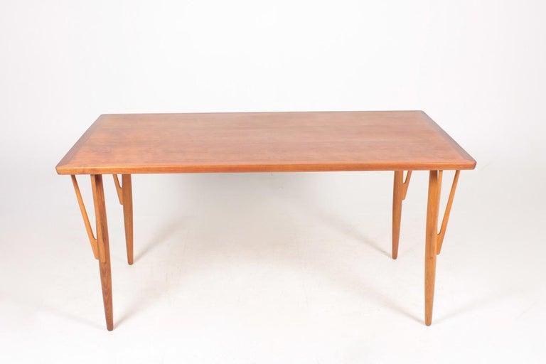 Scandinavian Modern Rare Midcentury Work Table in Teak and Oak by Hans Wegner, 1950s