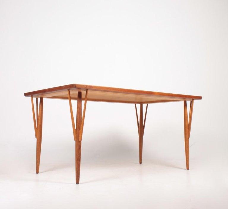 Rare Midcentury Work Table in Teak and Oak by Hans Wegner, 1950s 3