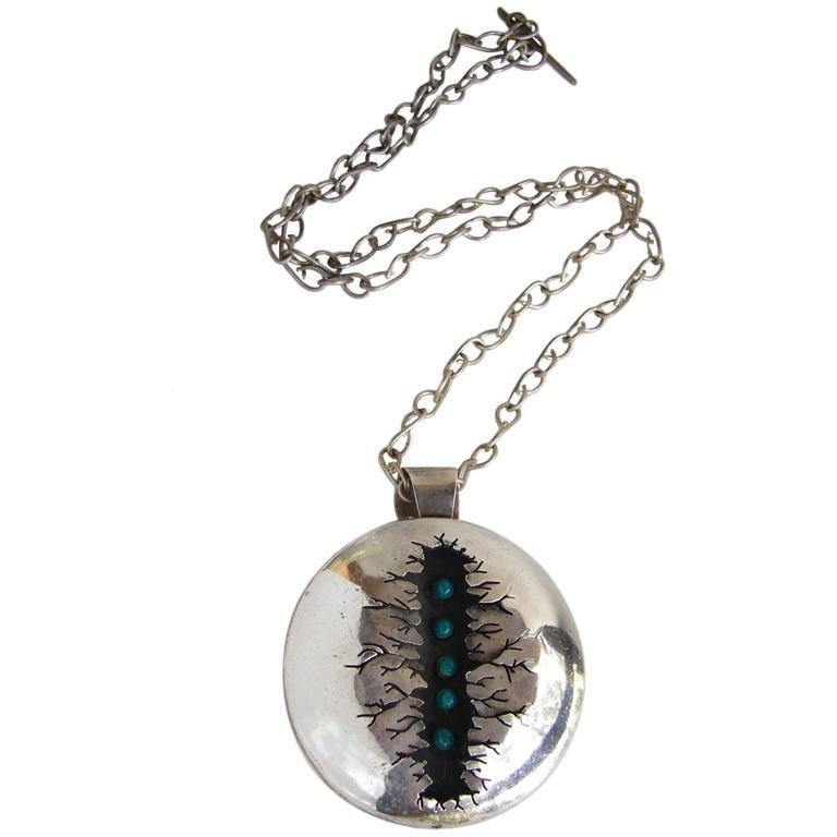 Rare Mildred Ball Enamel Sterling Silver Handmade Necklace In Excellent Condition For Sale In Los Angeles, CA
