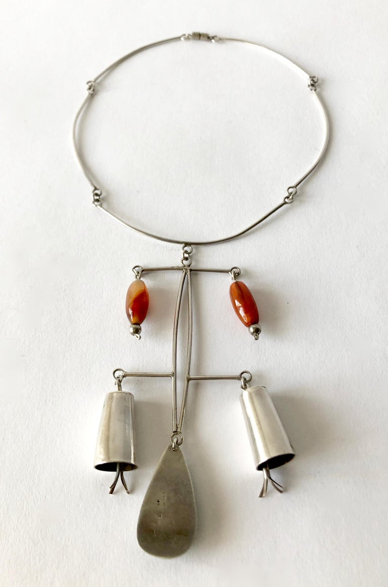 Modernist Rare Mildred Ball Sterling Chalcedony Carnelian Mobile Kinetic Bells Necklace For Sale