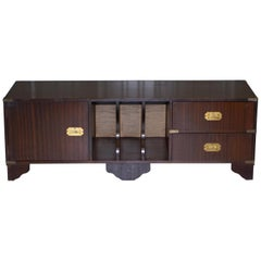 Rare Military Campaign Mahogany Record Player TV Media Stand Table with Drawers