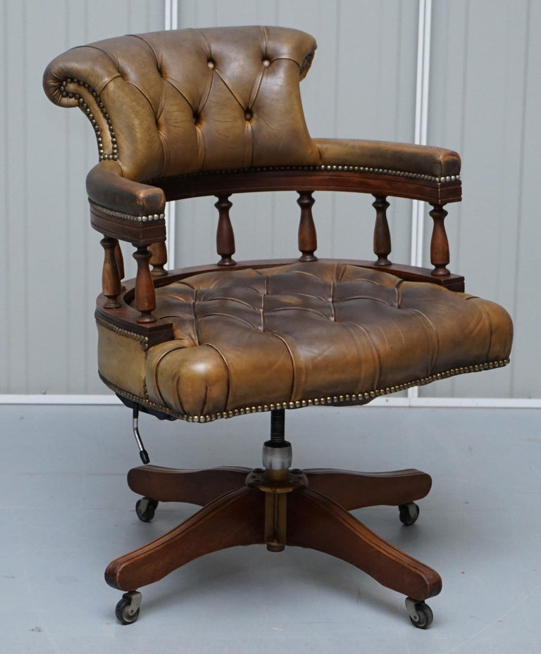 Rare Military Officers Naval Campaign Desk and Chesterfield Chair with Documents For Sale 6