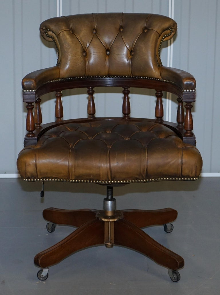Rare Military Officers Naval Campaign Desk and Chesterfield Chair with Documents For Sale 7