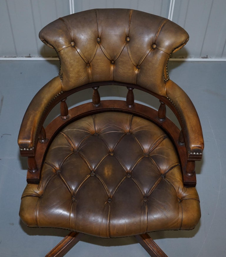 Rare Military Officers Naval Campaign Desk and Chesterfield Chair with Documents For Sale 8