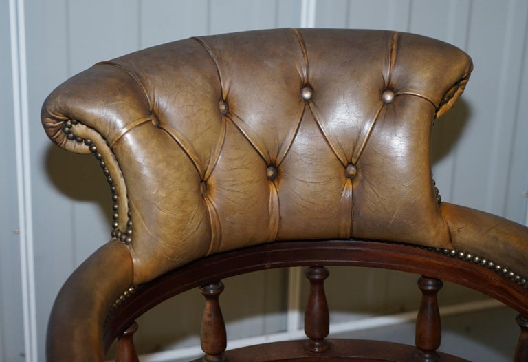 Rare Military Officers Naval Campaign Desk and Chesterfield Chair with Documents For Sale 9