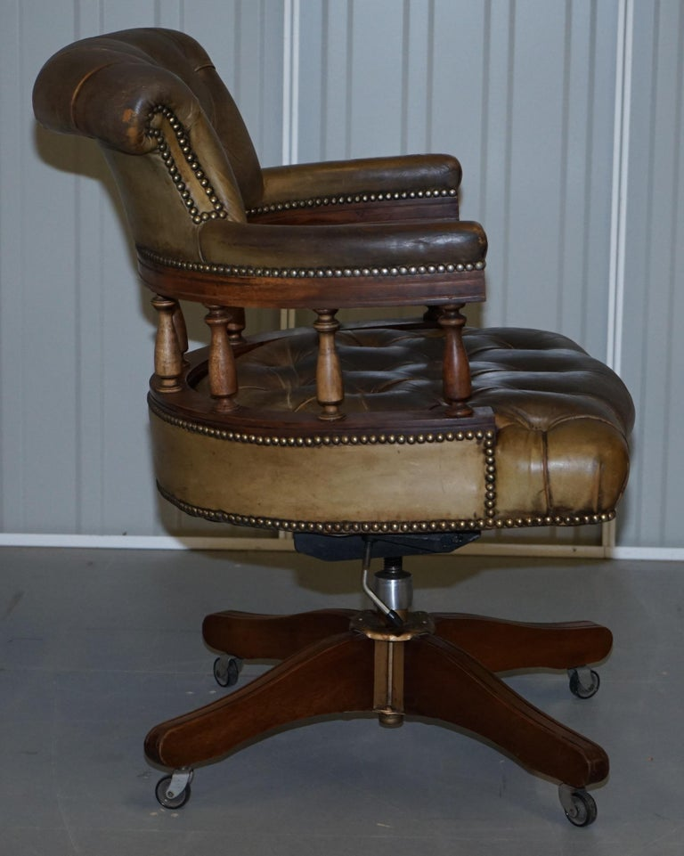 Rare Military Officers Naval Campaign Desk and Chesterfield Chair with Documents For Sale 11