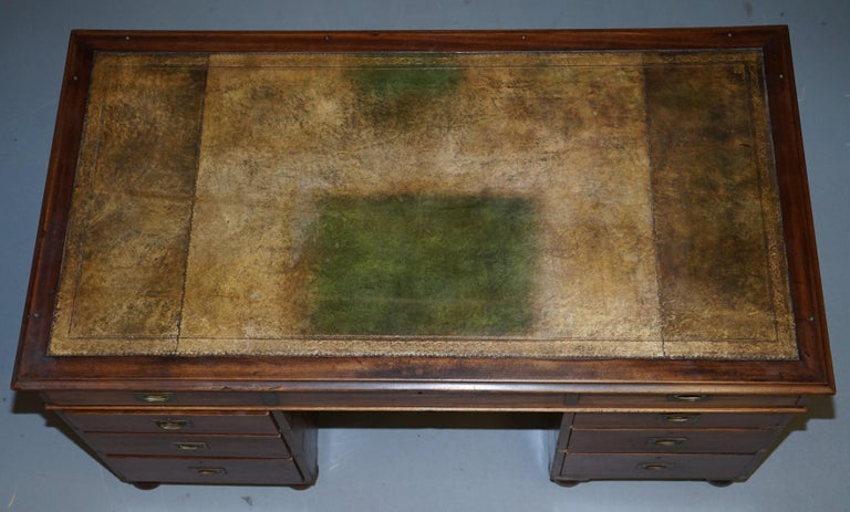 Hand-Crafted Rare Military Officers Naval Campaign Desk and Chesterfield Chair with Documents For Sale