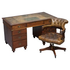 Rare Military Officers Naval Campaign Desk and Chesterfield Chair with Documents