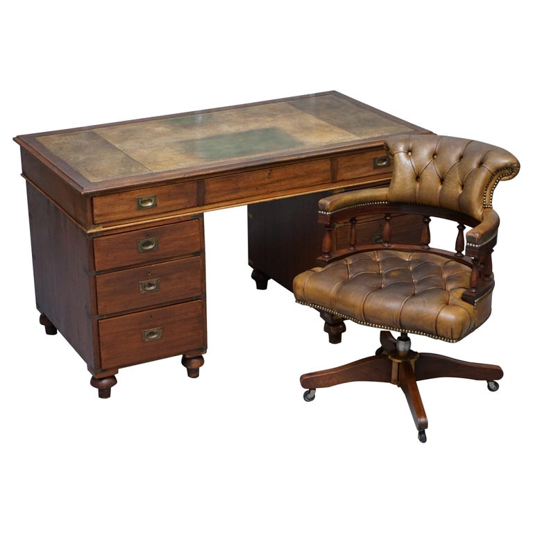Rare Military Officers Naval Campaign Desk and Chesterfield Chair with Documents For Sale