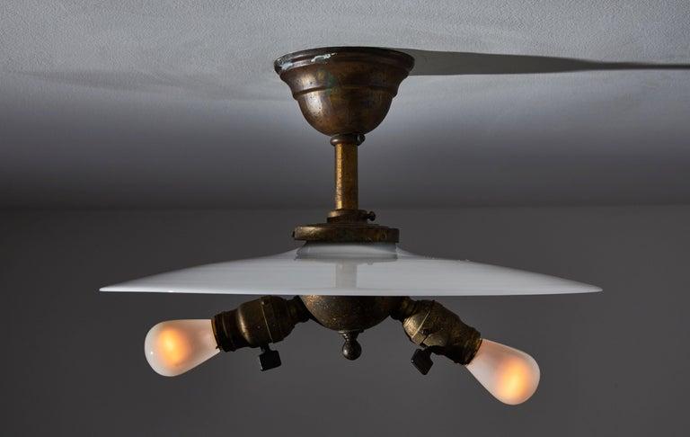 Mid-Century Modern Rare Milk Glass Flushmount Ceiling Light For Sale