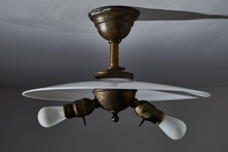 Rare Milk Glass Flushmount Ceiling Light In Good Condition For Sale In Los Angeles, CA
