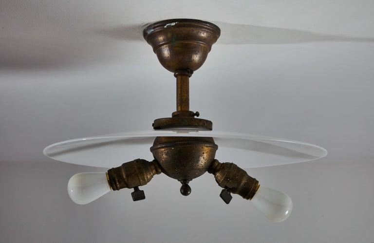 20th Century Rare Milk Glass Flushmount Ceiling Light For Sale