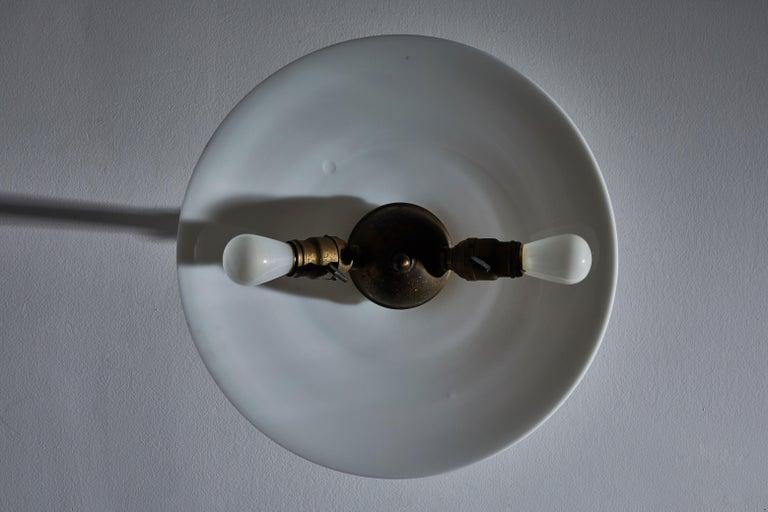 Brass Rare Milk Glass Flushmount Ceiling Light For Sale
