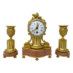 Rare Miniature French Ormolu Marble Clock Garniture, Mid-19th Century