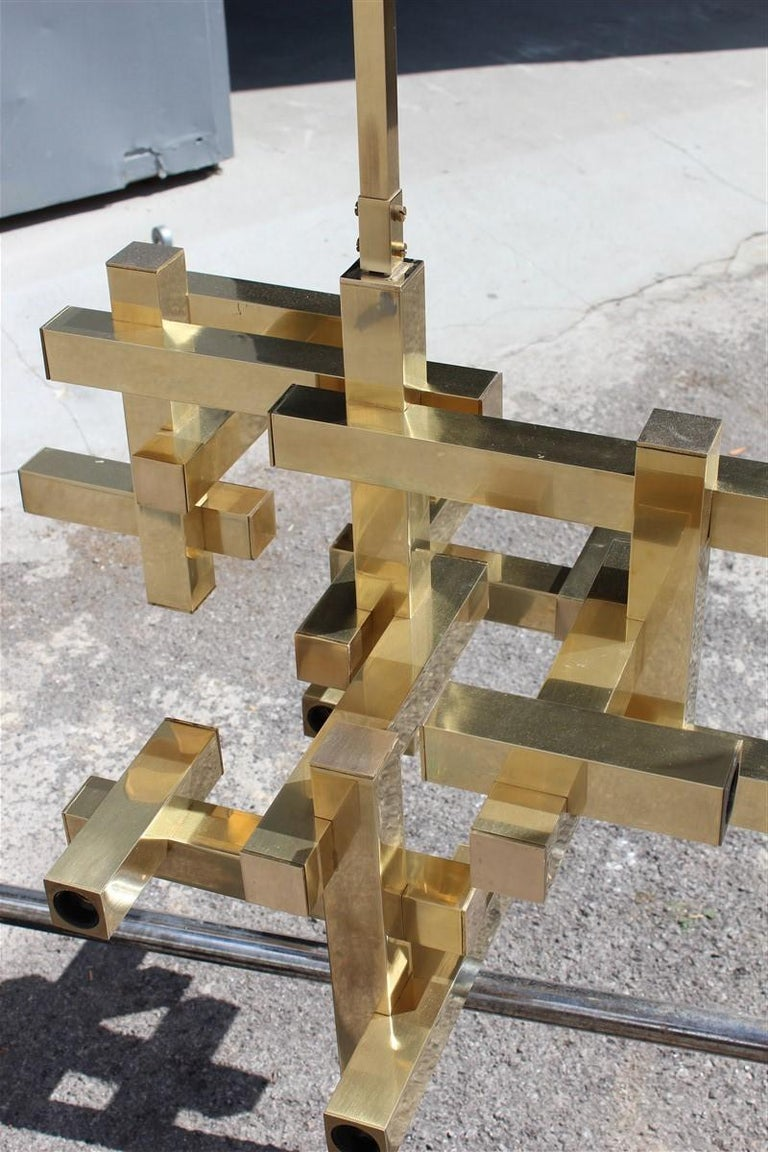 Rare Minimal Sculptural Gold Brass Sciolari Chandelier Italian Design, 1970s For Sale 7
