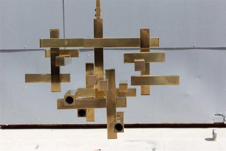 Late 20th Century Rare Minimal Sculptural Gold Brass Sciolari Chandelier Italian Design, 1970s For Sale