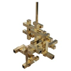 Rare Minimal Sculptural Gold Brass Sciolari Chandelier Italian Design, 1970s