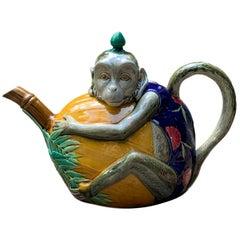 Rare Minton Majolica Monkey Teapot, circa 1879