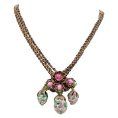 Rare Miriam Haskell Glass Necklace 1950s