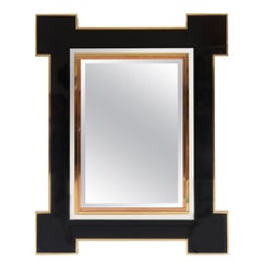 Rare Mirror by Alain Delon for Maison Jansen Lacquer and Brass, 1975