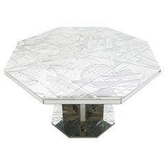 Rare Mirror Mosaic Dining Table Signed by Eugene, circa 1980s