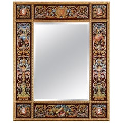 Rare Mirror with Polychromed Ornaments