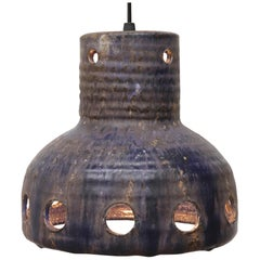 Rare Mobach Dutch Ceramic Bell Shaped Pendant Light with Cut-Outs