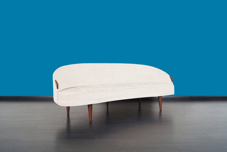 American Rare Vintage Model 2010-S Walnut Sofa by Adrian Pearsall For Sale