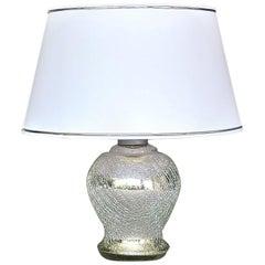 Rare Modernism Art Deco Table Lamp Silver Crackle Glass White Chrome France 1930