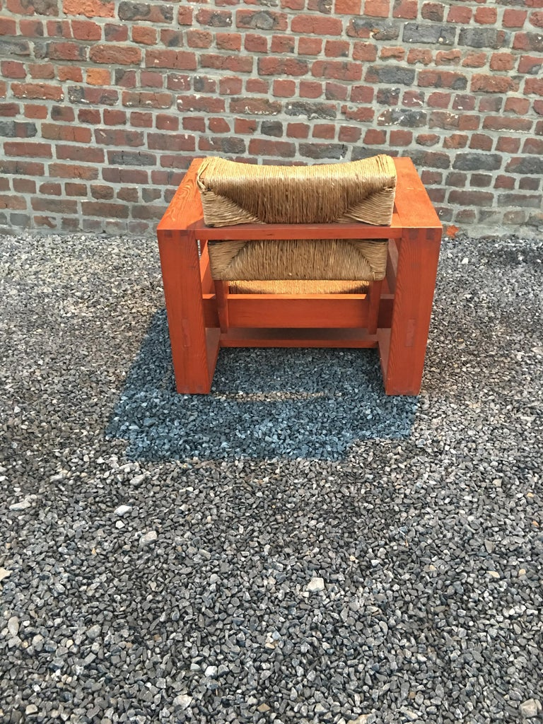 Rare Modernist Art Deco Armchair in Pine Attributed to Marcel-Louis Baugniet In Good Condition For Sale In Saint-Ouen, FR