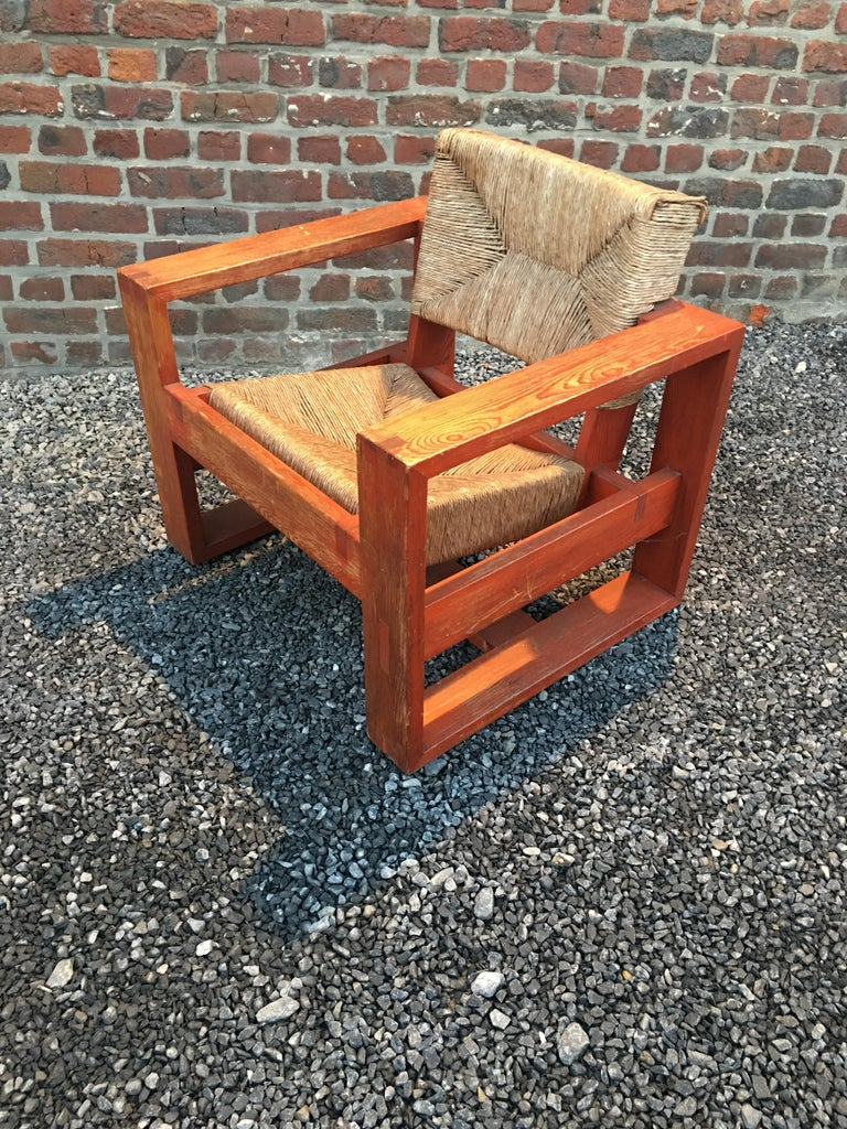 Mid-20th Century Rare Modernist Art Deco Armchair in Pine Attributed to Marcel-Louis Baugniet For Sale