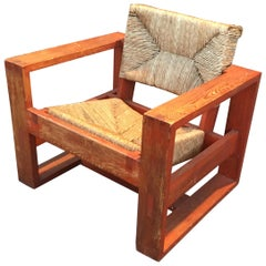 Rare Modernist Art Deco Armchair in Pine Attributed to Marcel-Louis Baugniet
