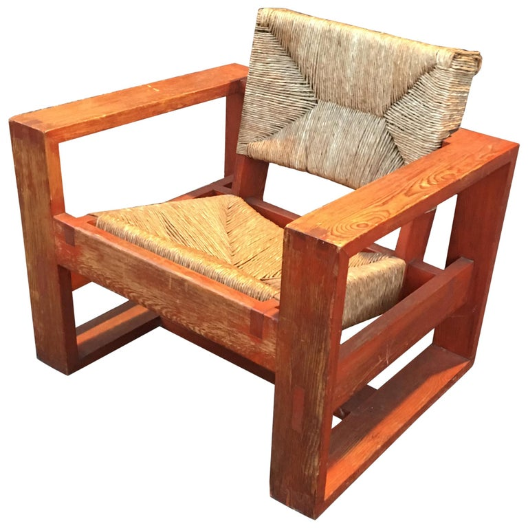 Rare Modernist Art Deco Armchair in Pine Attributed to Marcel-Louis Baugniet For Sale
