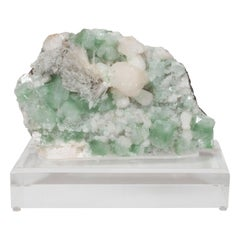 Rare Modernist Green Apophylite & Scolocite Rock Crystal Specimen on Lucite Base