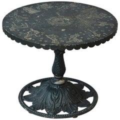 Rare Molla Dark Green Cast Aluminium Zodiac Garden Side Table