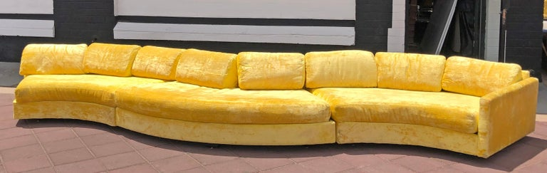 Mid-Century Modern Rare Monumental Adrian Pearsall Serpentine Sofa For Sale