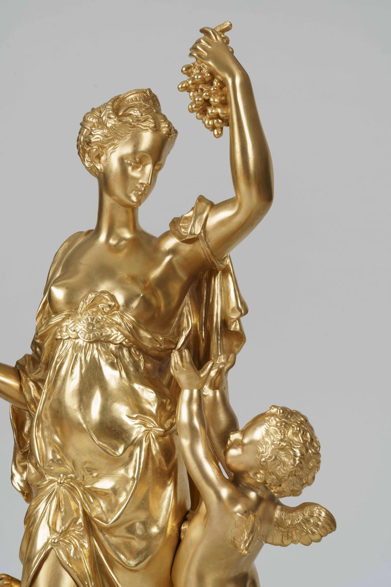 19th Century Rare Monumental Marble and Gilt Bronze Clock Set by Jules Graux of Paris For Sale