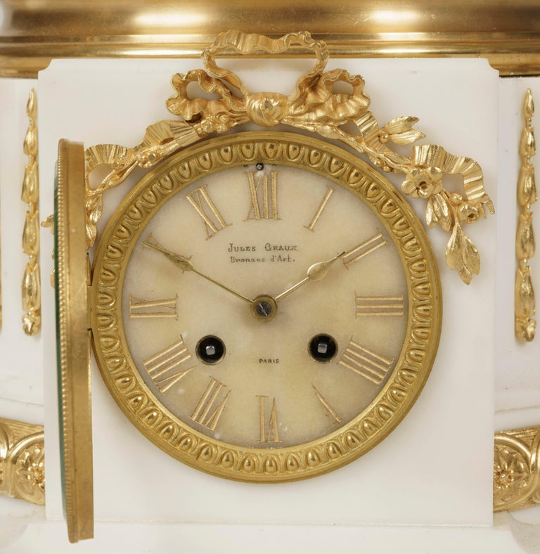 Rare Monumental Marble and Gilt Bronze Clock Set by Jules Graux of Paris For Sale 1