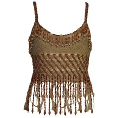Rare Moschino Couture! Vintage Wooden Pearl Jute Beaded Top
