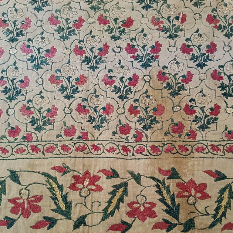 Hand-Woven Rare Mughal Dynasty Summer Carpet For Sale