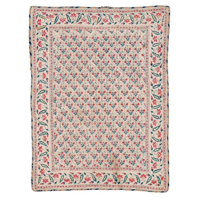 Rare Mughal Dynasty Summer Carpet For Sale