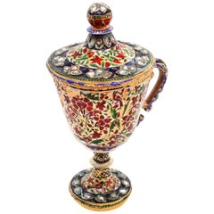 Rare Mughal Enamel and Diamond Cup, Early 19th Century