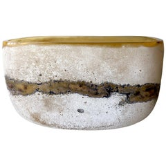 Rare Alfredo Barbini Italian Modernist Scavo Murano Glass Bowl
