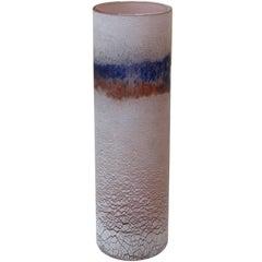 Rare Murano 1960s Alfredo Barbini 'Scavo' Glass Cylindrical Vase; Signed