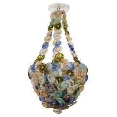 Rare Murano Chandelier with Glass Flowers, circa 1900