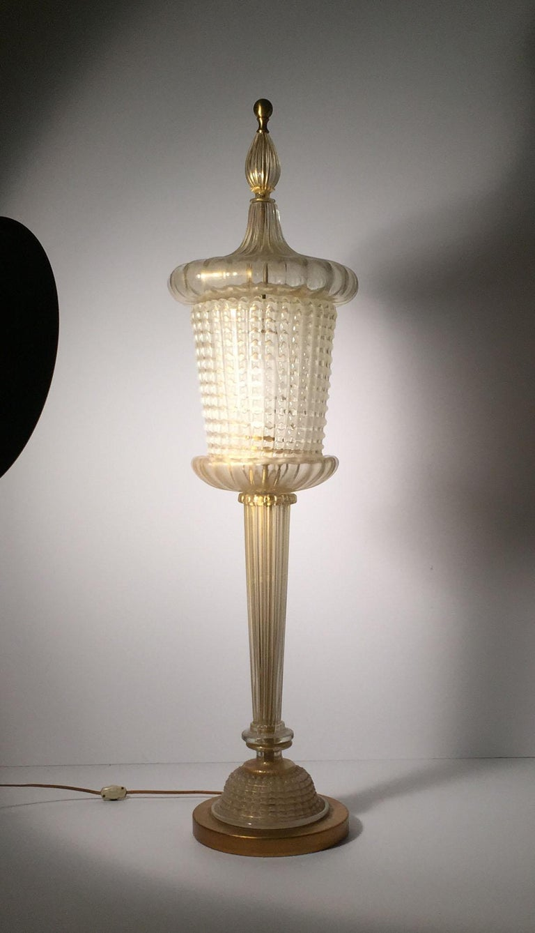 Barovier glass Table lamp in the form of a lantern design.  Hollywood Regency, Modern in Design.